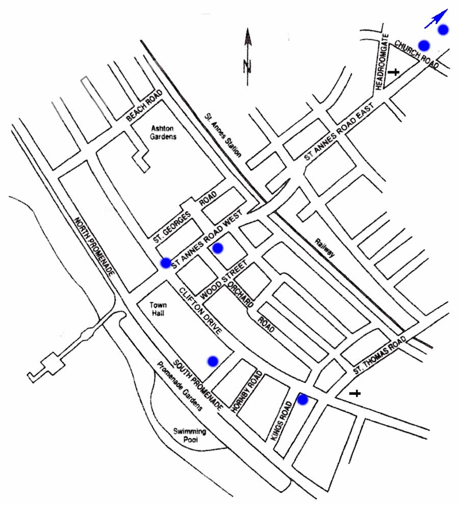 Blue Plaques Location Map St Annes