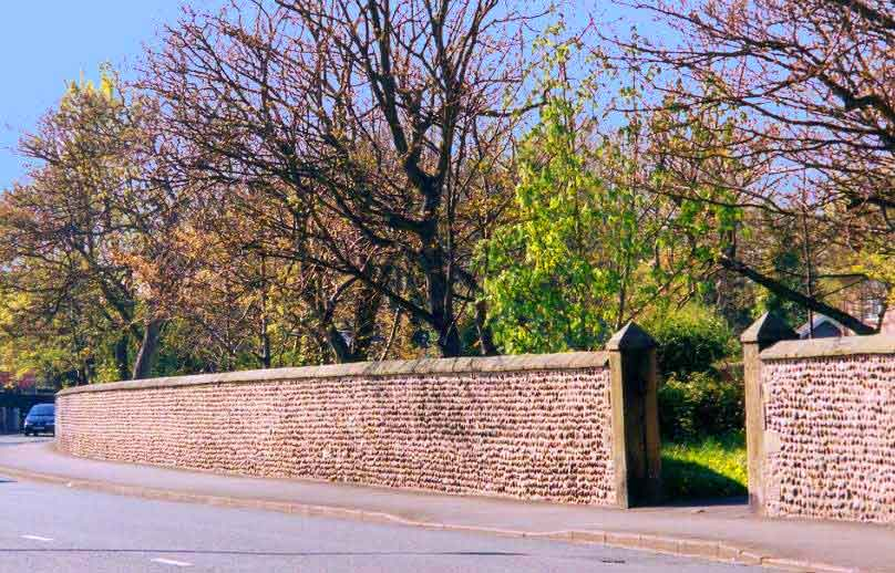 Cobble wall - Church Road South Boundary Wall to Vicarage - Lytham
