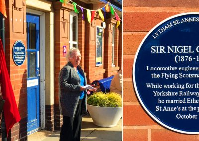 Sir Nigel Gresley blue plaque at St Annes Railway Station