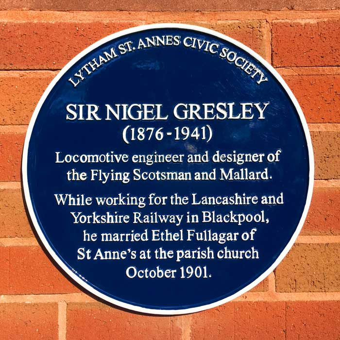Sir Nigel Gresley blue plaque unveiled on 17 Oct 2016 at St Annes Railway Station