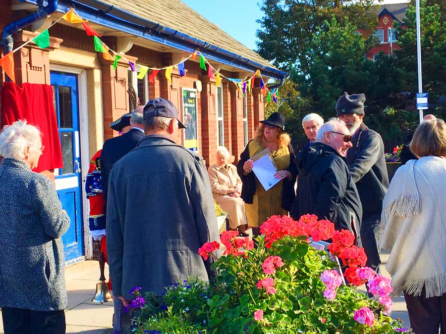 Spectators gathering for the unveiling of the Sir Nigel Gresley blue plaque