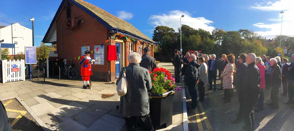 Town Crier Colin Ballard announcing the unveiling of the blue plaque for Sir Nigel Gresley